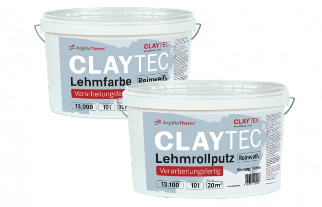 CLAYTEC clay paint and clay roll plaster 'ready to use""