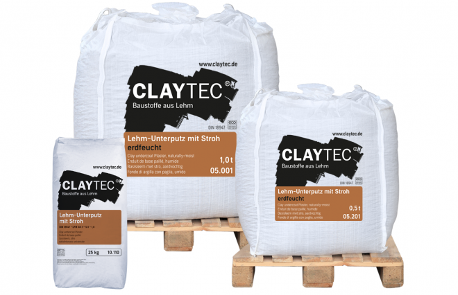 Clay undercoat plaster with straw